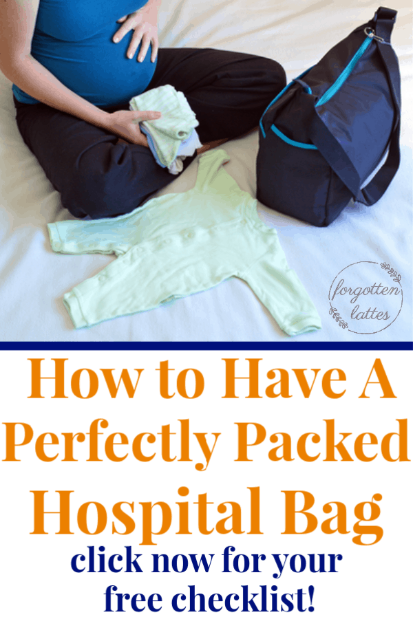"""a pregnant woman packing her hospital bag the text below reads """"how to have a perfectly packed hospital bag: click now for a free checklist"""""""