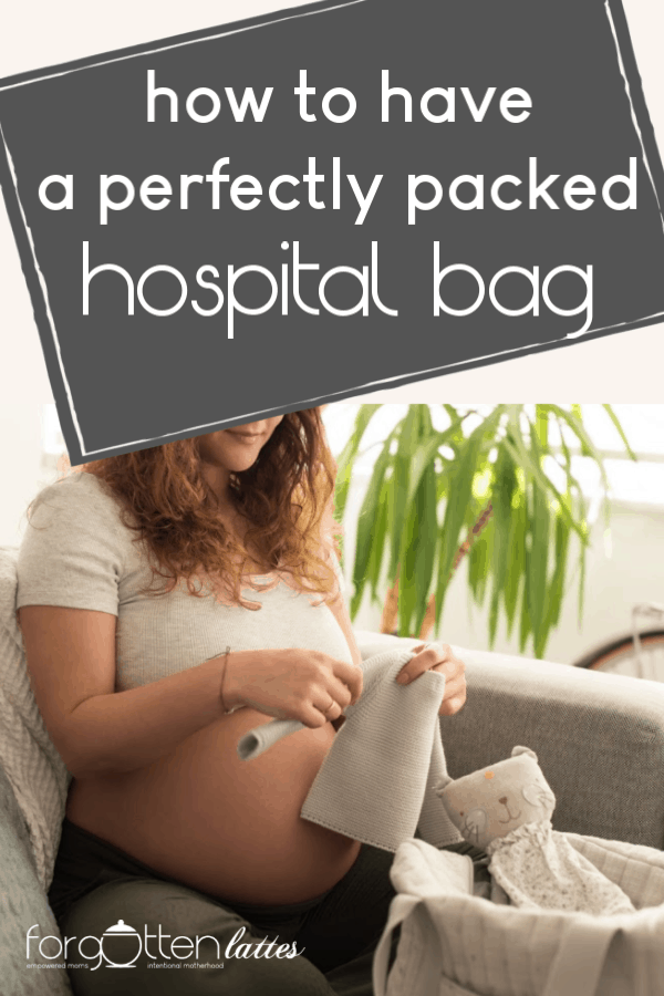 how to have a perfectly packed hospital bag- a pregnant woman packing her bag for the hospital
