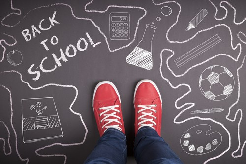 "person wearing red shoes standing on a black chalkboard with drawings in white and the words ""back to school"" written in the top left corner. homeschool."
