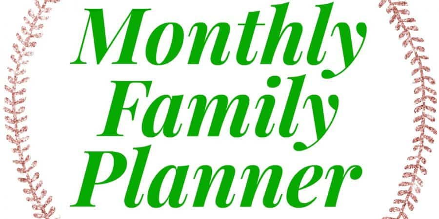 rose gold circle of leaves with the words monthly family planner in the middle