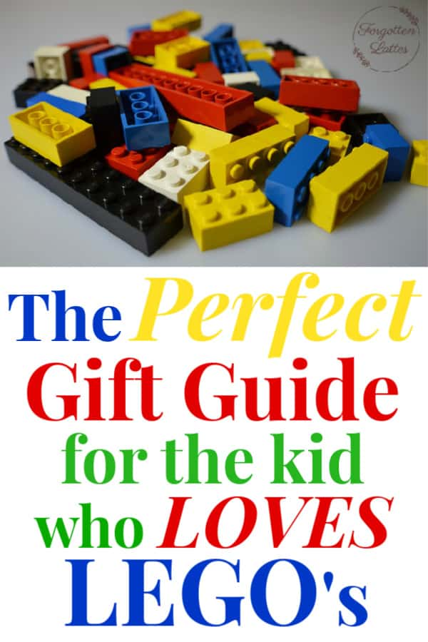 "a white background with multi-colored LEGO bricks in a small pile with text below that reads ""the perfect gift guide for the kid who loves legos"""