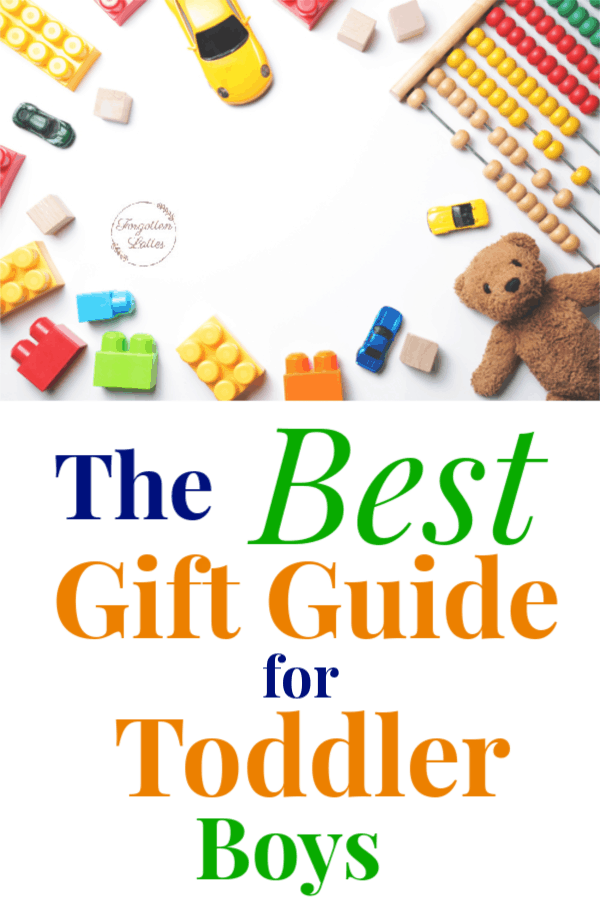 """white background with varies toys laid around the perimeter; toys include: teddy bear, colorful blocks, a yellow car, an abbicus; text below the image reads """"The Best Gift Guide for Toddler Boys"""""""