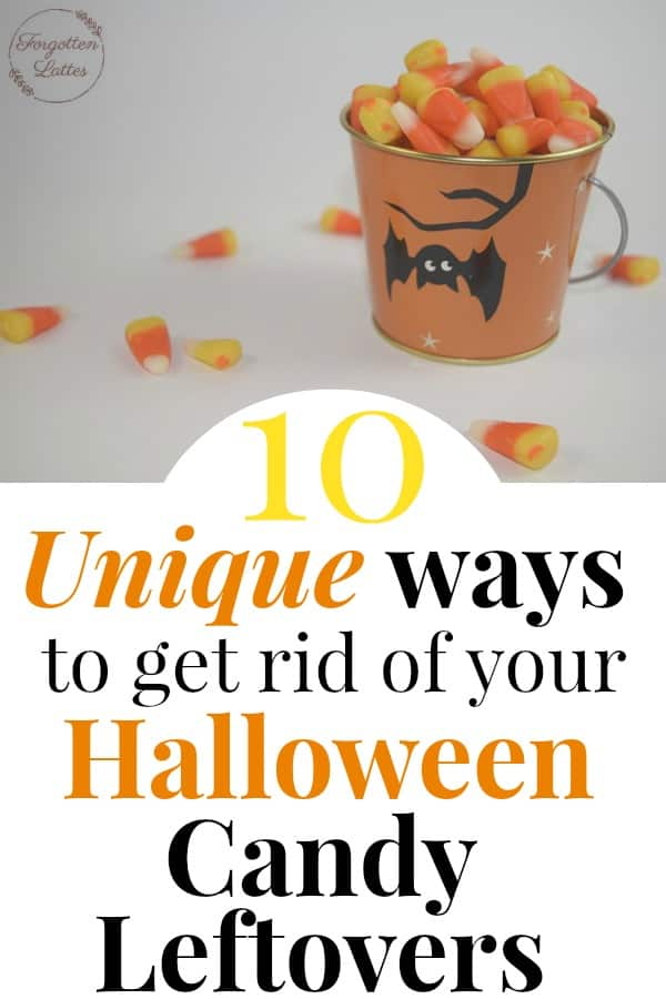 "white background and a white table with a small orange bucket with a black bat on it, candy corn is overflowing from the bucket and has spilled onto the white table with text below that reads ""10 Unique ways to get rid of your Halloween Candy Leftovers"""