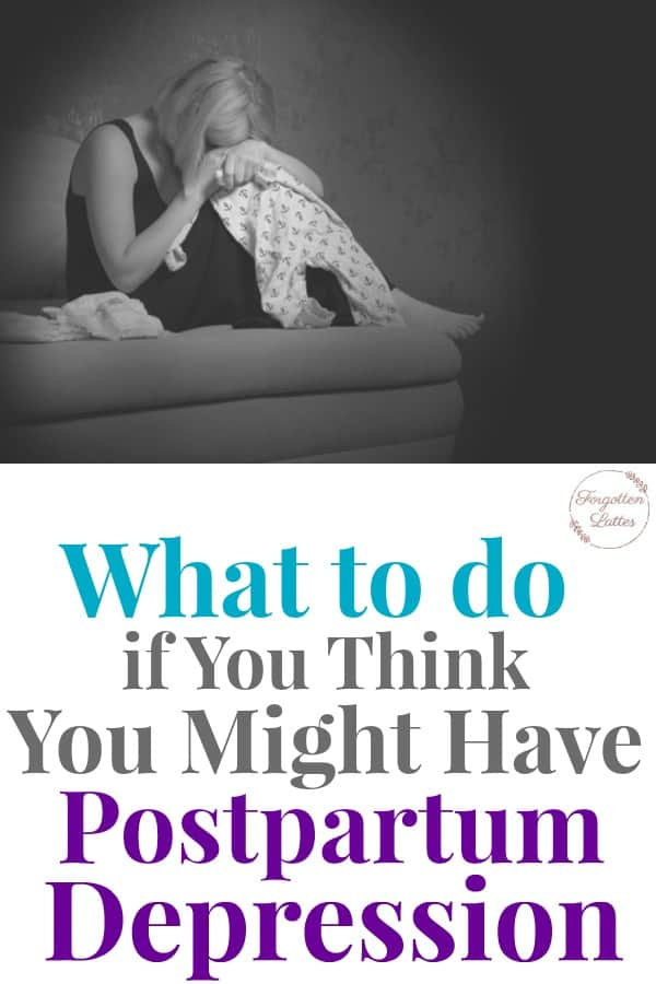 """graphic with an image on top and text on the bottom; image: black and white photo of a woman sitting on a couch, holding baby pajamas, her head is down in her hands; the text below reads """"What to do if you think you might have postpartum depression"""""""