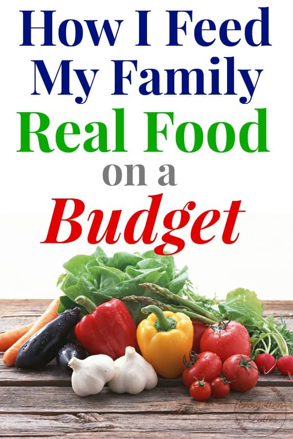 """graphic with text above and an image below; image: multicolored vegetables on a distressed wooden table, various vegetables including lettuce, bell peppers, egg plants, garlic; the text above reads """"How I Feed My Family Real Food on a Budget"""""""