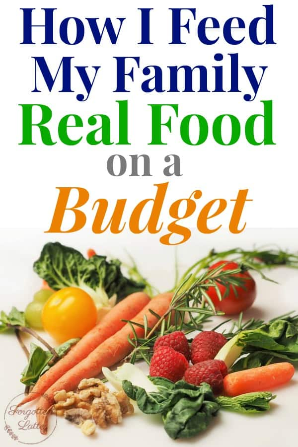 """graphic with image on the bottom and text on the top; image: several different kinds of multicolored vegetables laid out on a light colored wood table; text above reads """"How I Feed My Family Real Food on a Budget"""""""