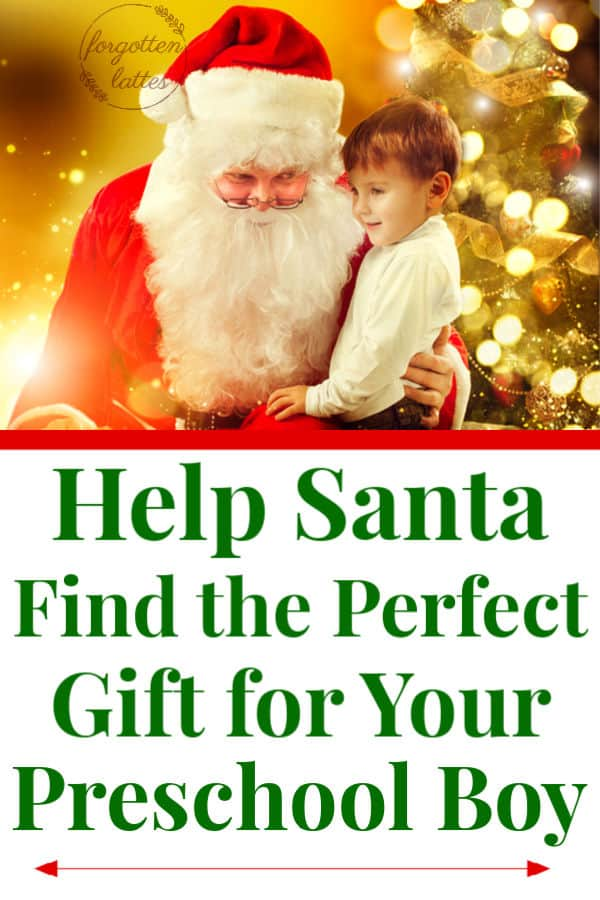 "a picture of Santa with a preschool boy sitting on his lap, a decorated Christmas tree is in the background the text below reads ""Help santa find the perfect gift for your preschool boy"""