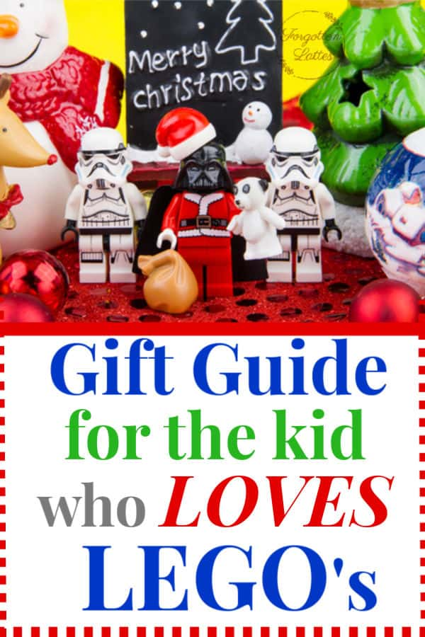 "star wars lego men wearing santa hats with a small chalkboard that says ""merry christmas"" behind them; the text below reads ""gift guide for the kid who loves legos"""