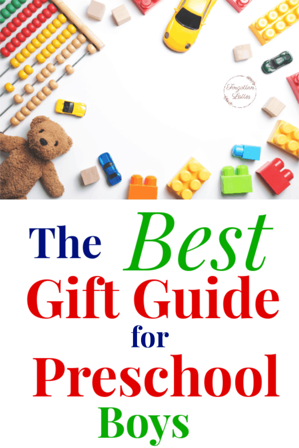 "white background with varies preschool appropriate toys laid around the perimeter; toys include: teddy bear, colorful blocks, a yellow car, an abbicus; text below the image reads ""The Best Gift Guide for Preschool Boys"""