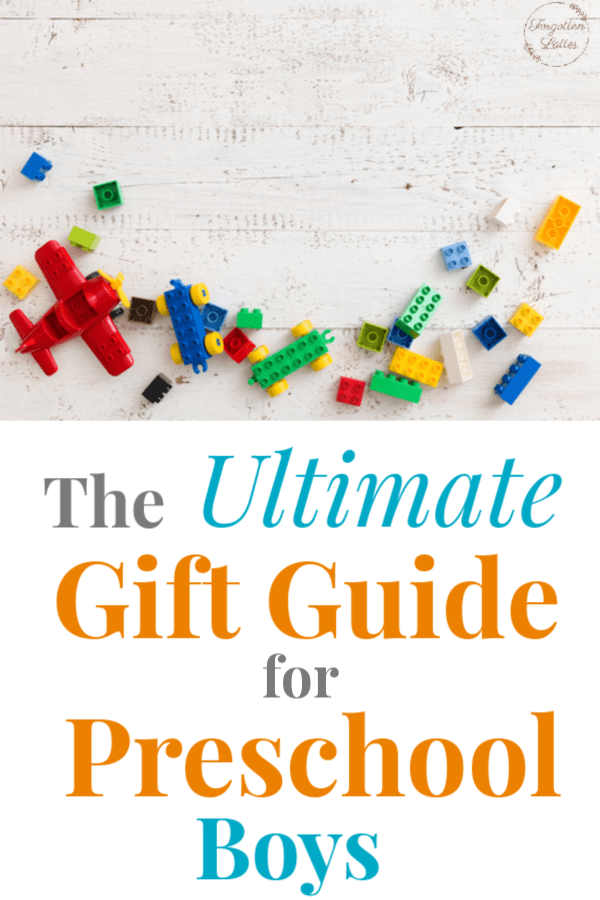 "a distressed white background with colorful LEGO bricks spread out across the bottom and left sides and a red LEGO plane in the bottom left corner; text below reads ""The Ultimate Gift Guide for Preschool Boys"""