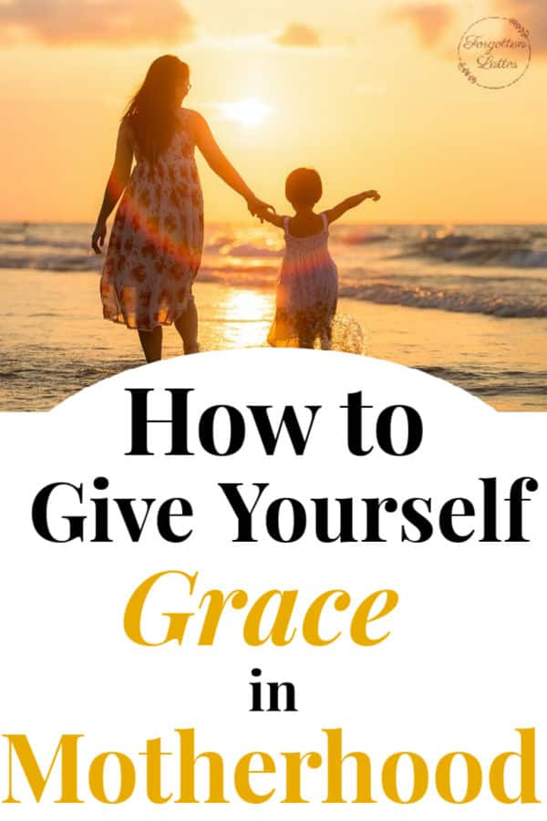 "a mother and her son walking barefoot on the beach, holding hands, waves crashing along the shore as the sun sets in the background; the text below reads ""how to give yourself grace in motherhood"""