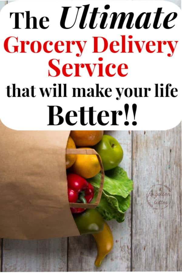 "white distressed wood as a background for a large brown bag overflowing with groceries, colorful fruits and vegetable spill out of the top of the bag as it lays on the wood with text above that reads ""the ultimate grocery delivery service that will make your life better!"""