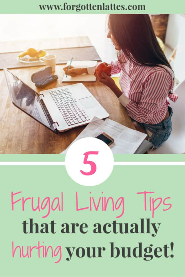 "a woman sitting at her computer, bills and her calculator next to her, she eats an apple as she considers if the common frugal living tips are actually hurting her budget; the text below reads ""5 frugal living tips that actually hurting your budget"""