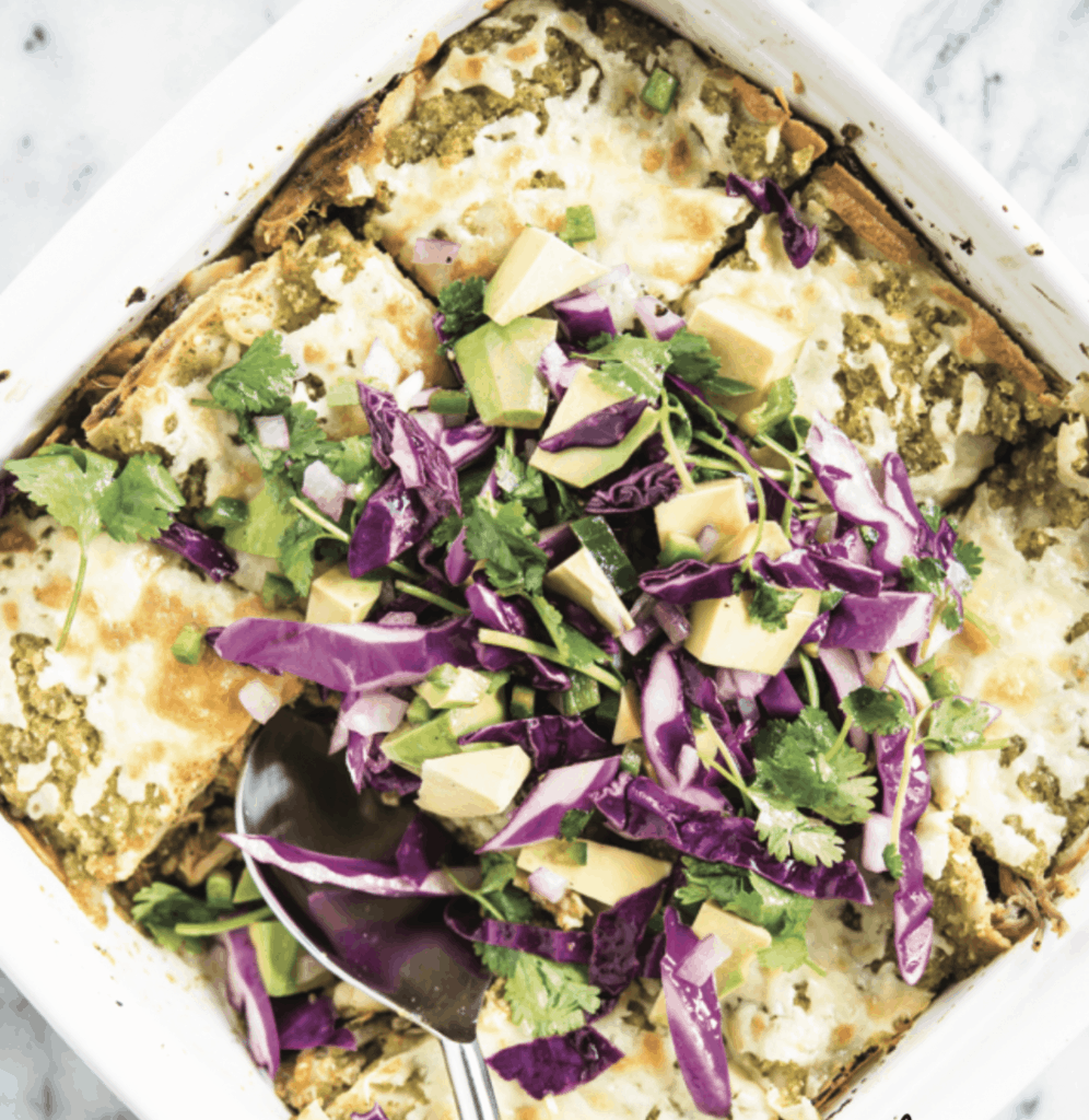 a close up of the enchilada verde casserole from Cook Once Eat All Week