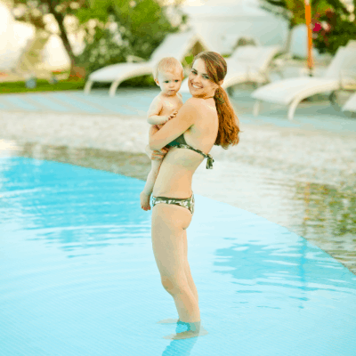 new mom takes her baby for a swim after a c section